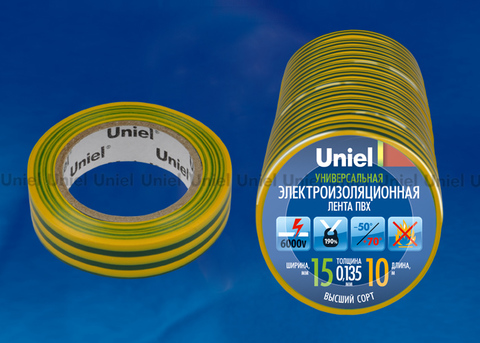 UIT-135P 10/15/10 YGR Изоляционная лента Uniel 10 м, 15 мм, 0,135 мм, 10 шт, цвет Желто-Зеленый