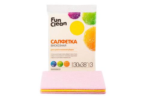 Салфетка сухая из вискозы Fun Clean для сухой и влажной уборки /30*38см/, 3шт.