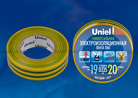 UIT-135P 20/19/01 YGR Изоляционная лента Uniel 20м, 19мм, 0,135мм, 1шт, цвет Желто-Зеленый