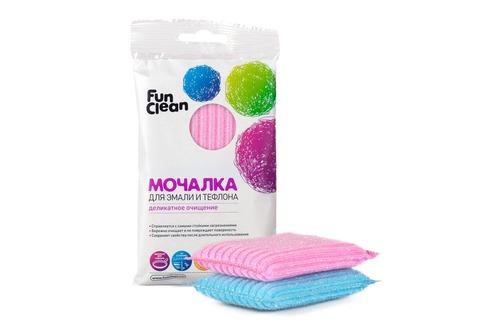 Мочалка для эмали и тефлона Fun Clean в полимерной оплетке, 2шт.