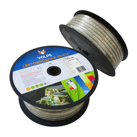 ULS-Q325 2835-60LED/m-10mm-IP67-220V-6W/m-50M-DW Светодиодная гибкая герметичная лента Volpe. В ПВХ трубке. Упаковка - бобина 50 м. IP67. Угол излучения 120. Кратность резки 1 м. Холодный белый свет.