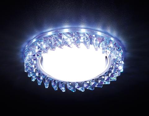 Встраиваемый точечный светильник со светодиодной лентой G255 PR/WH хром/перламутровый хрусталь/MR16+3W(LED WHITE)