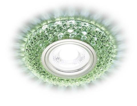 Встраиваемый точечный светильник со светодиодной лентой S291 GR хром/зеленый хрусталь/MR16+3W(LED COLD)