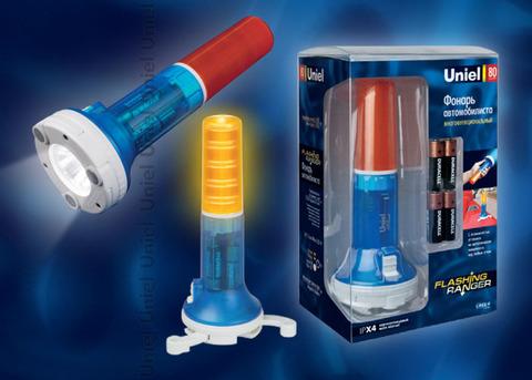 P-AT031-BB Amber-Blue Фонарь Uniel-offroad (Premium) «Flashing ranger», пластиковый корпус, XP-C Cree White LED, упаковка — цветной короб, 4хАА в/к, цвет янтарно-синий
