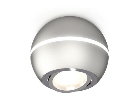 Комплект накладного поворотного светильника XS1103011 SSL/PSL серебро песок/серебро полированное MR16 GU5.3 LED 3W 4200K (C1103, N7003)