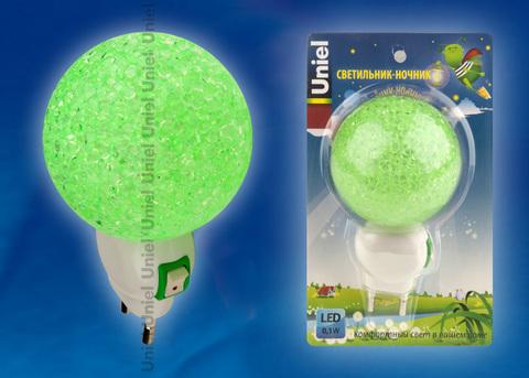 DTL-309-Шар/GREEN/1LED/0,1W Светильник-ночник. Выключатель на корпусе. Блистер
