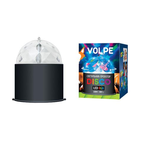 Светодиодный светильник-проектор ULI-Q302. Серия DISCO, многоцветный. ТМ VOLPE. Напряжение 220В. Кабель с вилкой (в комплекте) Цвет корпуса — черный.