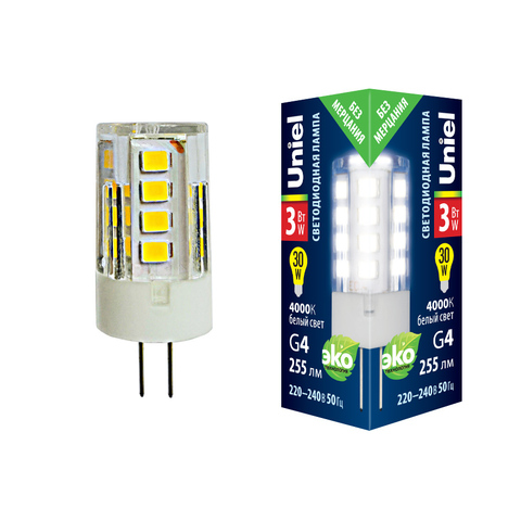 LED-JC-220/3W/4000K/G4/CL GLZ09TR Лампа светодиодная, прозрачная. Белый свет (4000К). Картон. ТМ Uniel.