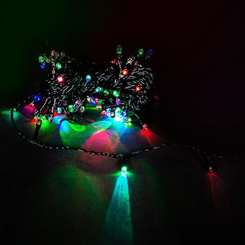 A-019A LED RGB гирлянда светодиодная 5м, зеленый провод