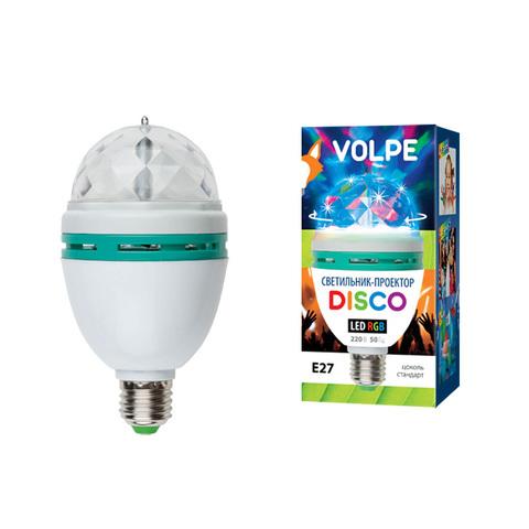 Светодиодный светильник-проектор ULI-Q301. Серия DISCO, многоцветный. ТМ VOLPE. Работа от сети 220В. Для установки в электропатрон Е27. Цвет корпуса — белый.