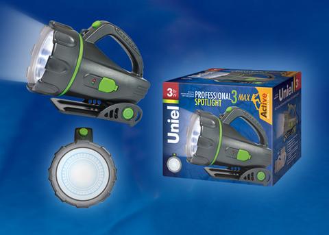 S-SL011-BA Black Фонарь Uniel серии Стандарт «Professional spotlight - 3 max », пластиковый корпус, 3 Watt LED, упаковка — цветной короб, 3.6V 1200mA Ni-MH battery в/к, цвет — черный
