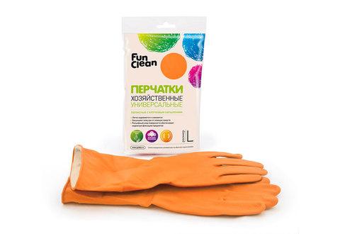 Перчатки хозяйственные Fun Clean универсальные оранжевые, L