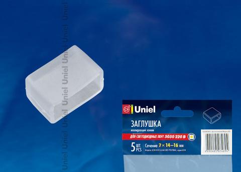 UCW-K14 CLEAR 005 POLYBAG Изолирующий зажим (заглушка) для светодиодной ленты 5050, 14-16 мм, цвет прозрачный, 5 штук в пакете
