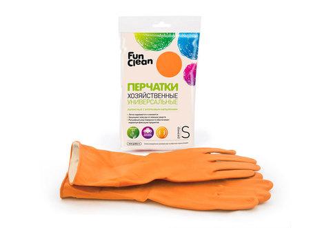 Перчатки хозяйственные Fun Clean универсальные оранжевые, S