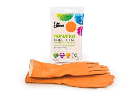Перчатки хозяйственные Fun Clean универсальные оранжевые, XL