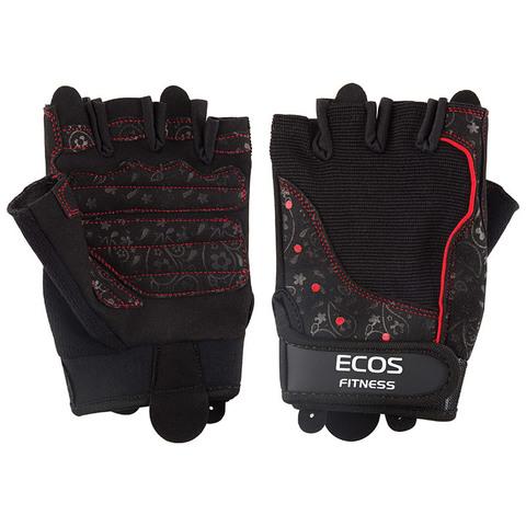 Перчатки для фитнеса, женские, цвет -черные с принтом, размер: M, модель: SB-16-1736
