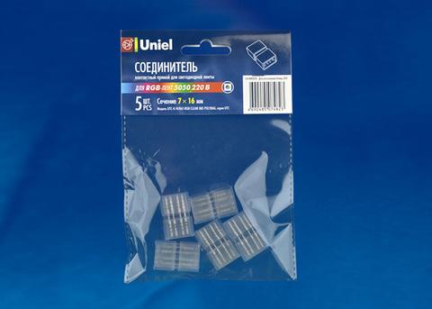 UTC-K-14/B67-RGB CLEAR 005 POLYBAG Соединитель контактный прямой для светодиодных лент 220В 5050 RGB, 4 контакта, цвет прозрачный, 5 штук в пакете