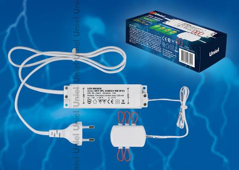 UET-IPL-350E33 9W IP33 6 выходов Блок питания для светодиодов с вилкой, разветвителем на 6 выходов и заглушками. Мощность 9W, ток 320mA, IP33. Упаковка картонная коробка.