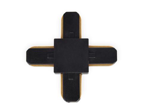 Коннектор Х-образный однофазный для соединения трековых шинопроводов GL7083 BK черный