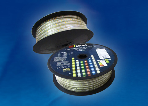 ULS-2835-60LED/m-10mm-IP67-220V-8W/m-50M-BLUE Светодиодная гибкая герметичная лента. Бобина 50 м. Синий свет. TM Uniel.