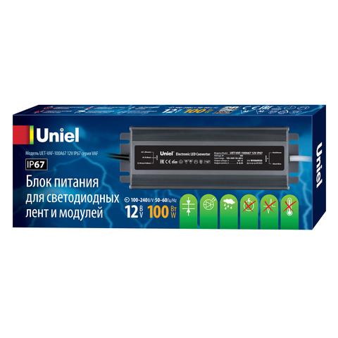 UET-VAF-100A67 12V IP67 Блок питания ультратонкий, 100Вт. Металлический корпус. TM Uniel