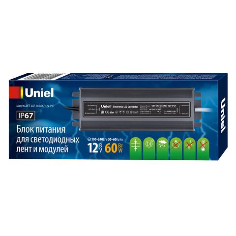 UET-VAF-060A67 12V IP67 Блок питания ультратонкий, 60Вт. Металлический корпус. TM Uniel