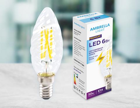 Светодиодная лампа Filament LED C35 6W E14 4200K (50W) 220-240V