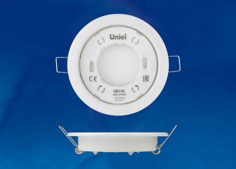 GX53/H2 WHITE 10 PROM Светильник ультратонкий встраиваемый. В составе набора из 10шт. Корпус белый. Картон. TM Uniel.