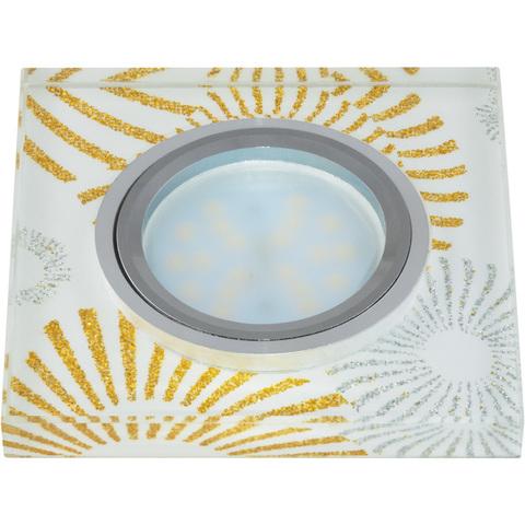 DLS-P201 GU5.3 CHROME/WHITE Светильник декоративный встраиваемый, серия Peonia. Квадратный. Без лампы, цоколь GU5.3. Металл/стекло. Хром/белый+золото+серебро. ТМ Fametto