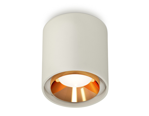 Комплект накладного светильника XS7724004 SGR/PYG серый песок/золото желтое полированное MR16 GU5.3 (C7724, N7034)