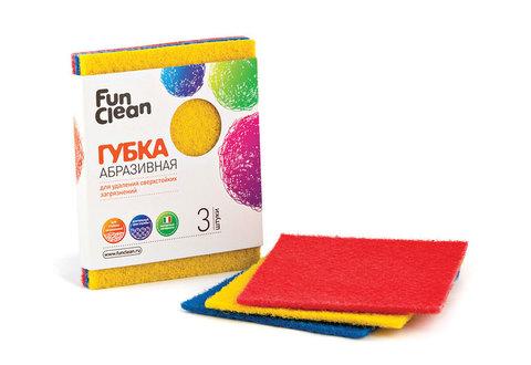 Губка для удаления сверхстойких загрязнений Fun Clean абразивная, 3шт.