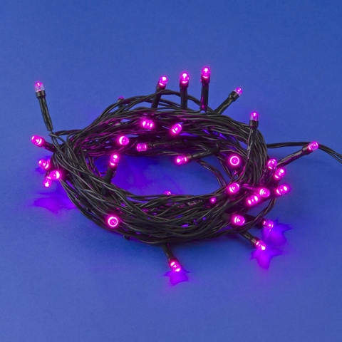 ULD-S0500-050/DGA PINK IP20 Гирлянда светодиодная, 5м. 50 светодиодов. Розовый свет. Провод зеленый. ТМ Uniel