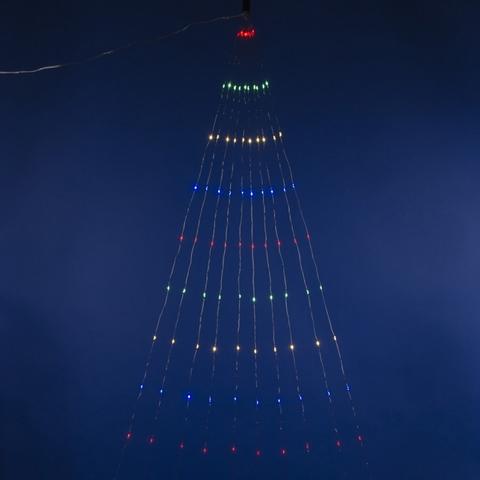 ULD-E0120-120/STA MULTI IP44 Гирлянда светодиодная «Лучи росы», 1,2м. 10 нитей. 120 светодиодов. Разноцветный свет. Провод прозрачный. ТМ Uniel