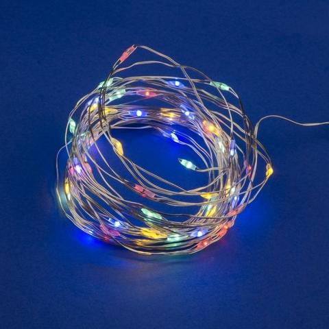 ULD-S0500-050/SCB/2AA MULTI IP20 DEW Гирлянда светодиодная на батарейках 2AA (не в/к), «Роса», 5м. 50 светодиодов. Разноцветный свет. Провод медный. TM Uniel.