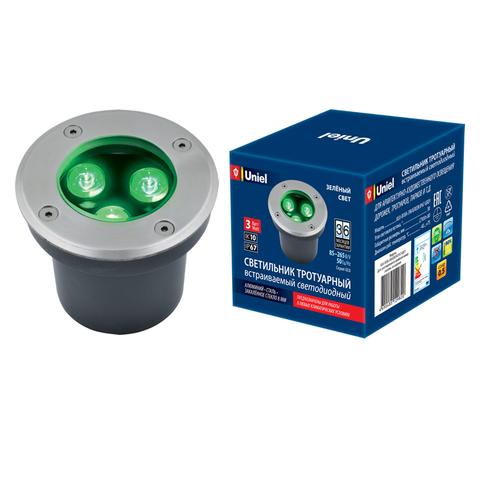 ULU-B10A-3W/GREEN IP67 GREY Светильник светодиодный уличный. Архитектурный встраиваемый. Зеленый свет. Корпус серый. TM Uniel