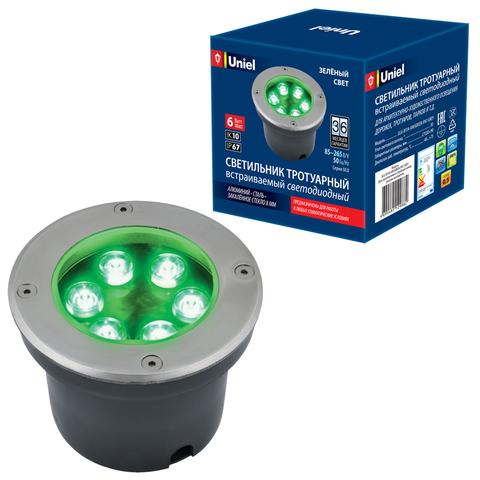 ULU-B11A-6W/GREEN IP67 GREY Светильник светодиодный уличный. Архитектурный встраиваемый. Зеленый свет. Корпус серый. TM Uniel.