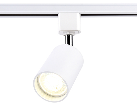 Трековый однофазный светильник со сменной лампой GL5121 WH белый GU10 max 12W