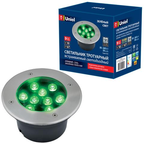 ULU-B12A-9W/GREEN IP67 GREY Светильник светодиодный уличный. Архитектурный встраиваемый. Зеленый свет. Корпус серый. TM Uniel.