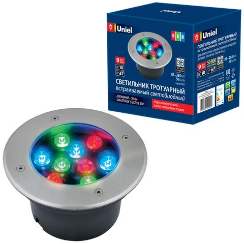ULU-B12A-9W/RGB IP67 GREY Светильник светодиодный уличный. Архитектурный встраиваемый. RGB свет. Корпус серый. TM Uniel.