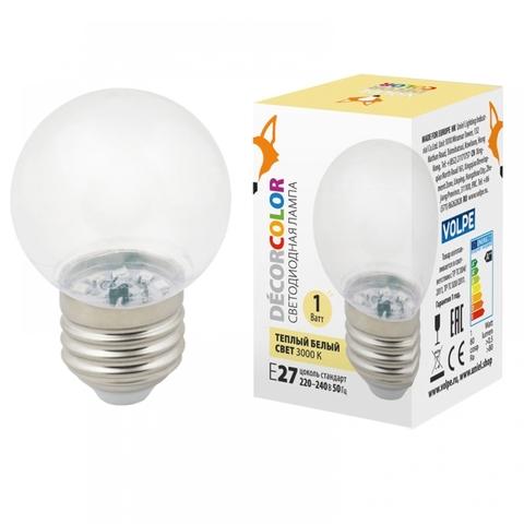 LED-G45-1W/3000K/E27/CL/С Лампа декоративная светодиодная. Форма