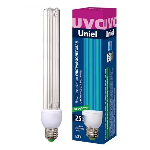 ESL-PLD-25/UVCB/E27/CL Лампа ультрафиолетовая бактерицидная. Спектр UVC 253,7нм. Картон. ТМ Uniel