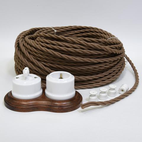 Ретро кабель витой  с сечением 2х1,5 (коричневый)