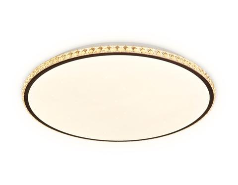 Потолочный светодиодный светильник с пультом FF71 WH/CF белый/кофе 72W+24W D500*60 (ПДУ ИК)