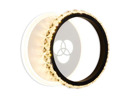 Настенный светодиодный светильник с хрусталем FA228 WH белый LED 4200K+4200K/6400K 28W 220*170*50