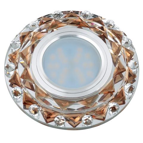 DLS-L130 GU5.3 CHROME/BROWN Светильник декоративный встраиваемый, серия Luciole. Без лампы, цоколь GU5.3. Доп. светодиодная подсветка 3Вт. Металл/стекло. Хром/коричневый. ТМ Fametto