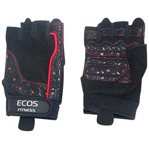 Перчатки для фитнеса, женские, цвет -черные с принтом, размер: S, модель: SB-16-1736
