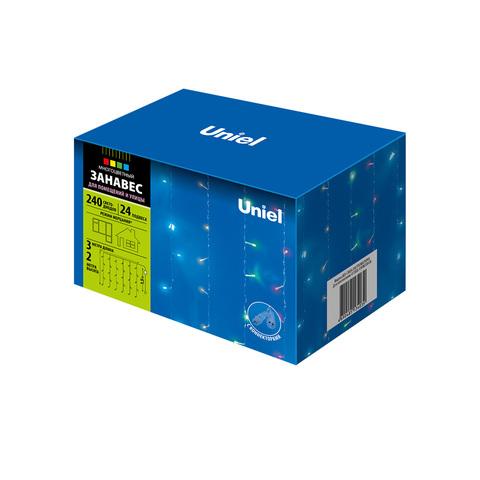 ULD-C3020-240/TTK MULTI IP44 Занавес светодиодный с эффектом мерцания, 3х2м. Соединяемый. 240 светодиодов. Разноцветный свет. Провод прозрачный. TM Uniel