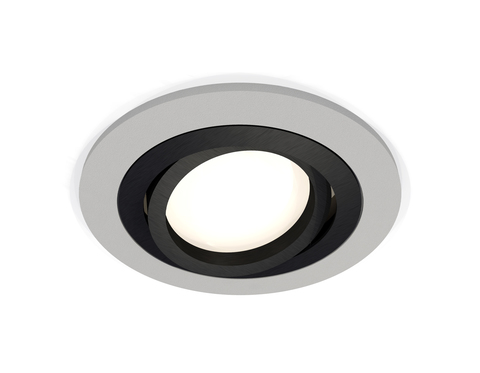 Комплект встраиваемого поворотного светильника XC7623081 SGR/PBK серый песок/черный полированный MR16 GU5.3 (C7623, N7002)