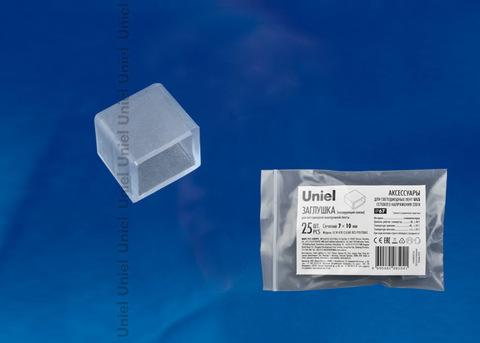 UCW-K10 CLEAR 025 POLYBAG Изолирующий зажим (заглушка) для светодиодной ленты 220В, 10x7мм, цвет прозрачный, 25 штук в пакете. TM Uniel.