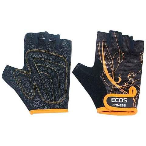 Перчатки для фитнеса, женские, цвет -черные с принтом, размер: S, модель: SB-16-1743